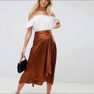 Bronze/Rust Midi Wrap Satin Skirt